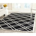 Safavieh Handmade Moroccan Cambridge Square Pattern Black/ Ivory Wool Rug (5' x 8')