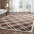 Safavieh Handmade Moroccan Cambridge Geometric Dark Brown/ Ivory Wool Rug (5' x 8')