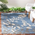 Safavieh Indoor/ Outdoor Courtyard Floral-pattern Blue/ Beige Rug (8' x 11')