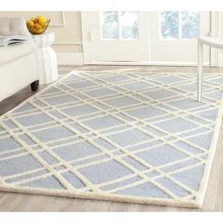 Safavieh Handmade Moroccan Cambridge Light Blue/ Ivory Wool Rug with .5-inch Pile (9' x 12')