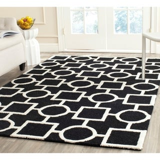 Safavieh Handmade Moroccan Cambridge Black/ Ivory Wool Rug (9' x 12') with Cotton Backing