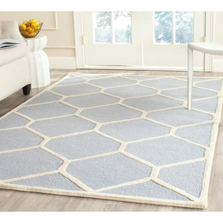 Safavieh Handmade Moroccan Cambridge Light Blue/ Ivory Geometric Wool Rug (9' x 12')