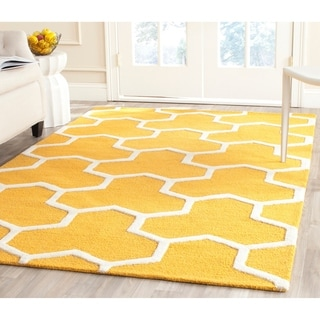 Safavieh Handmade Moroccan Cambridge Gold/ Ivory Wool Rug with High/ Low Construction (9' x 12')