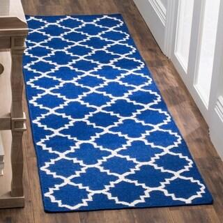 Safavieh Hand-woven Moroccan Reversible Dhurries Dark Blue Wool Rug (2'6 x 10')