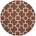 Safavieh Handmade Moroccan Cambridge Shape-pattern Dark Brown/ Ivory Wool Rug (6' Round)