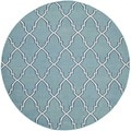 Safavieh Hand-woven Moroccan Dhurries Light Blue/ Ivory Wool Rug (6' Round)