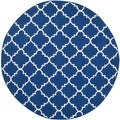 Safavieh Hand-woven Moroccan Dhurries Dark Blue Wool Rug (6' Round)