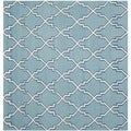 Safavieh Hand-woven Moroccan Dhurries Light Blue/ Ivory Wool Rug (6' Square)