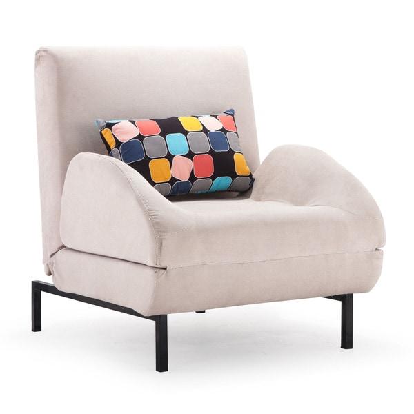 Grey Fabric Steel Arm Chair Sleeper