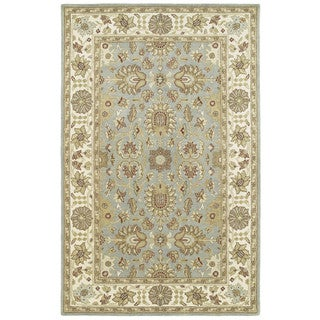Hand-tufted Anabelle Spa Blue Traditional Wool Area Rug (2' x 3')