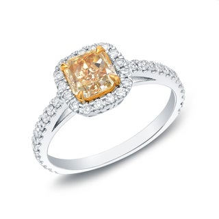 Auriya 18k Gold 1 1/2ct TDW Certified Fancy Yellow Radiant Cut Diamond Ring (F-G, VS1)