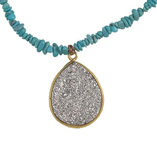 Handmade Turquoise and Druzy Teardrop Necklace