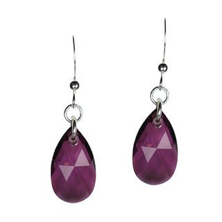 Jewelry by Dawn Sterling Silver Teardrop Purple Crystal Pear Earrings