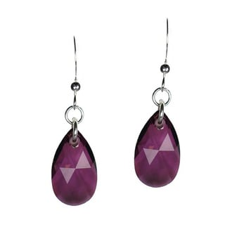 Sterling Silver Teardrop Purple Crystal Pear Earrings