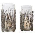 'Corbis' Silver Finish Candle Holders (Set of 2)
