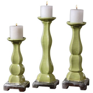 'Irwyn' Green Ceramic Candle Holders (Set of 3)