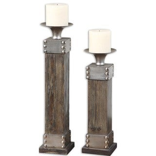 Uttermost 'Lican' Natural Wood Candleholders (Set of 2)