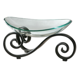 'Arla' Clear Glass Bowl and Black Stand