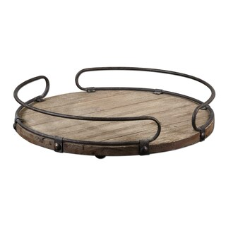 Acela Natural Wood Round Wine Tray