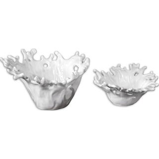 White 'Coral' Decorative Bowls (Set of 2)