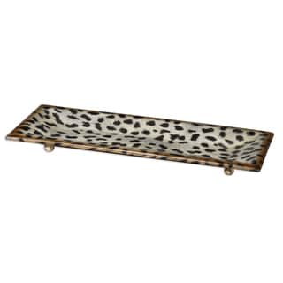 'Malawi' Burnished Cheetah Print Ceramic Tray