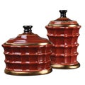 Brianna Caramelized Red Ceramic Canisters (Set of 2)