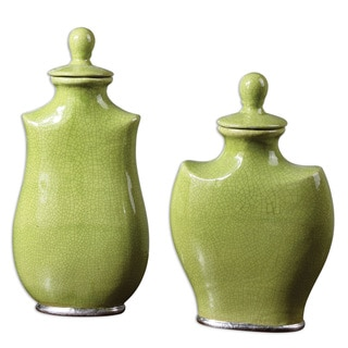 Irwyn Bright Green Ceramic Containers (Set of 2)