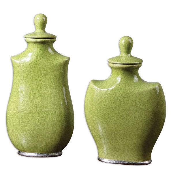 Uttermost Irwyn Bright Green Ceramic Containers (Set of 2)
