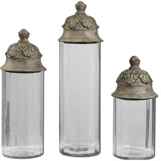Acorn Glass Cylinder Canisters (Set of 3)