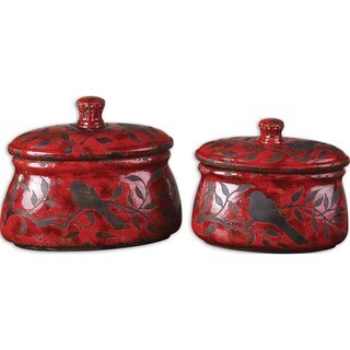 Siana Red Ceramic Canisters, Set of 2