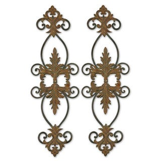 Lacole Distressed Rust Brown Metal Wall Art (Set of 2)