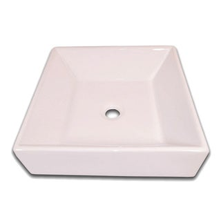 Flotera NY-0205 White European Square Ceramic Bathroom Vessel Sink