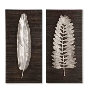 Silver Leaves Decorative Wall Plaques (Set of 2)