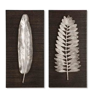 Uttermost Silver Leaves Decorative Wall Plaques (Set of 2)