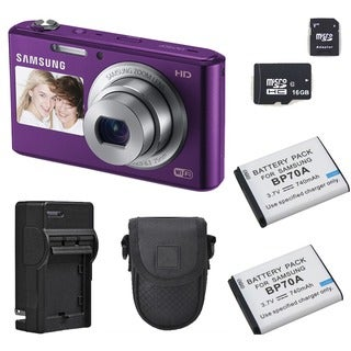 Samsung DV150F Dual View Smart WiFi Plum Digital Camera 16GB Bundle