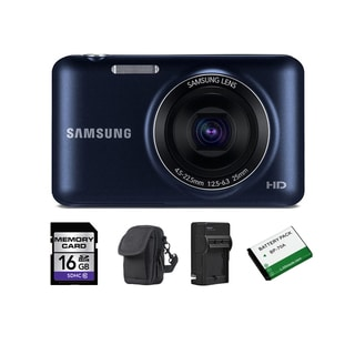 Samsung ES95 16.2MP Cobalt Black Digital Camera 16GB Bundle