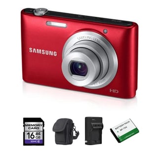 Samsung ST72 16.2MP Red Digital Camera 16GB Bundle