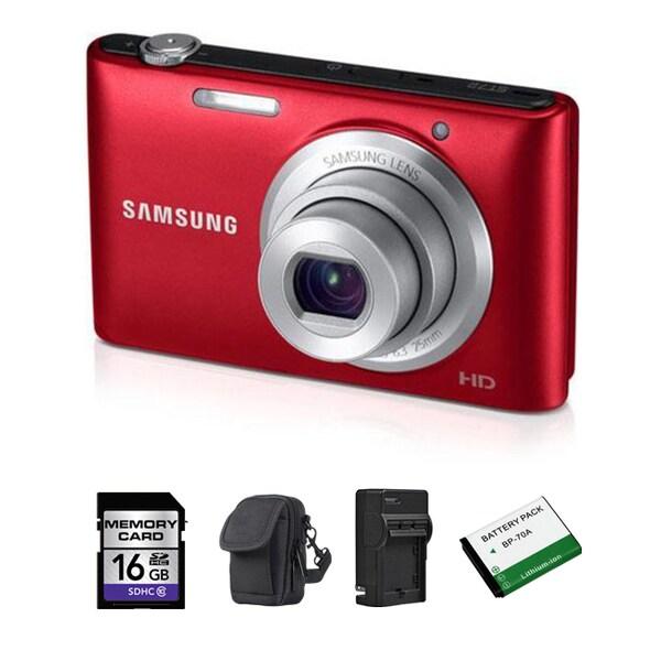 Samsung ST72 16.2MP Red Digital Camera 16GB Bundle