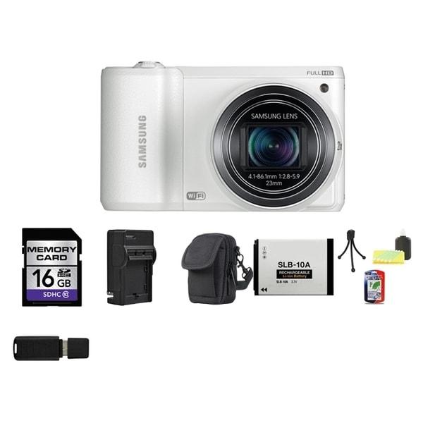 Samsung WB800F Smart 16.3MP Wi-Fi White Digital Camera 16GB Bundle