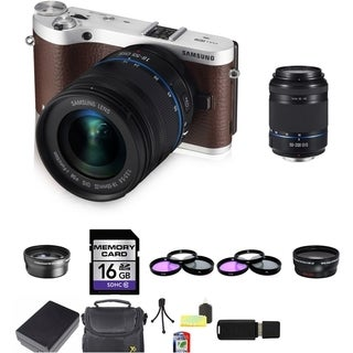 Samsung NX300 20.3MP Brown Mirrorless Digital Camera with 18-55mm & 50-200mm Lens Bundle