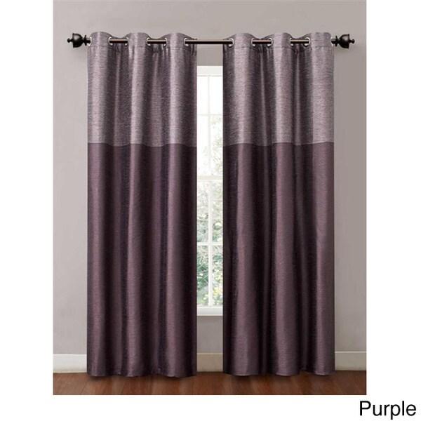 Victoria Classics Lancaster 84-inch Color Blocked Grommet Curtain Panel Pair (Set of 2)