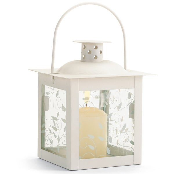 Small White Glass Window Lantern