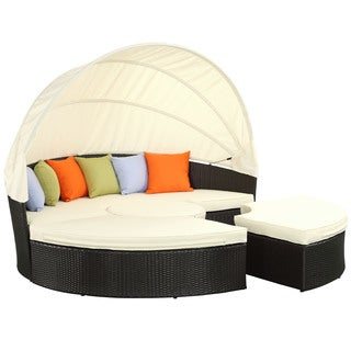 Quest Espresso/ White Canopy Daybed Outdoor Patio Set
