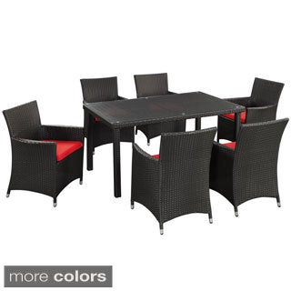 Art Deco Espresso Red 7-Piece Outdoor Patio Dining Set