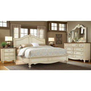 Crescent Manor Antique White Sleigh Bed