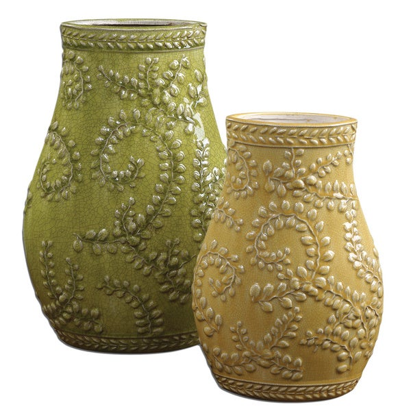 Uttermost Trailing Leaves Pale Yellow/ Light Green Ceramic Vases (Set of 2)
