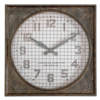 'Warehouse' Rust Brown Wall Clock with Grill