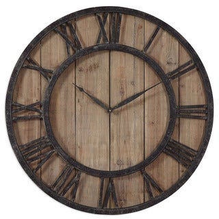 'Powell' Aged Wood and Bronze Wall Clock