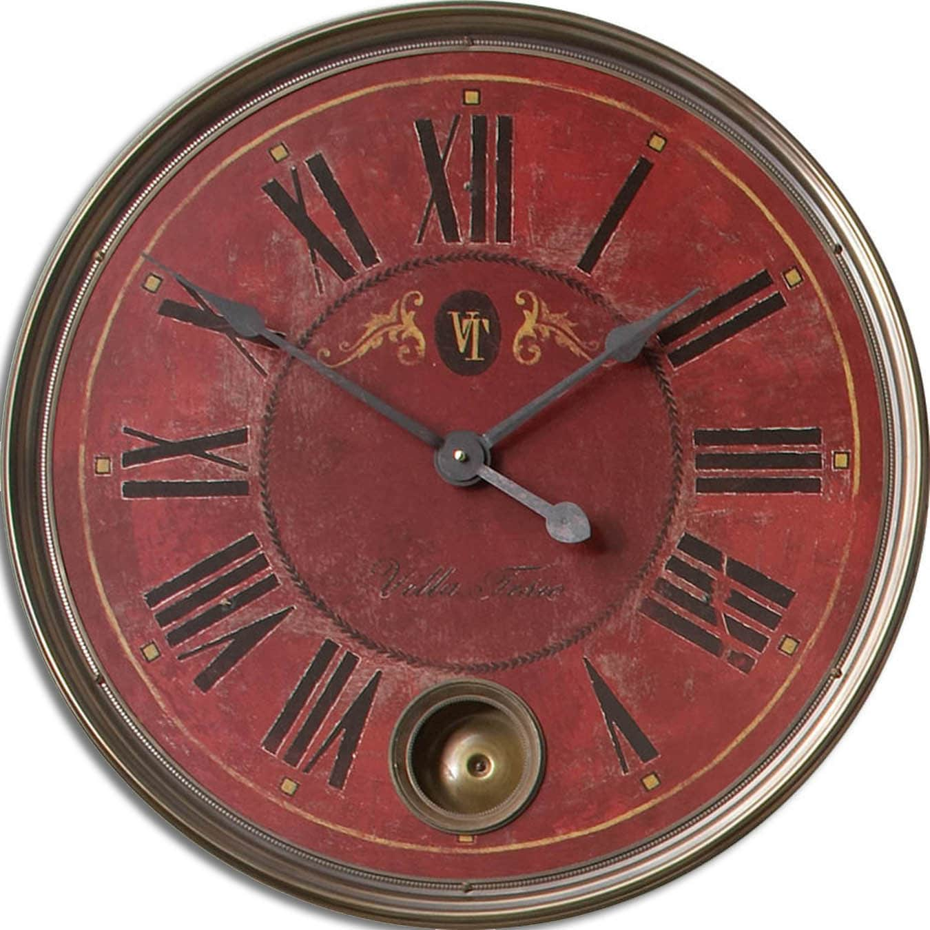 Overstock.com Regency 'Villa Tesio' Distressed Red Wall Clock at Sears.com