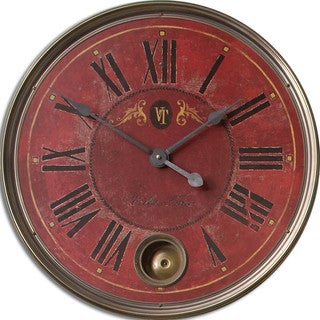 Regency 'Villa Tesio' Distressed Red Wall Clock